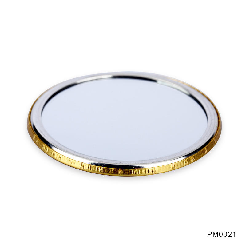 Promotional gift 75mm tinplate mirror