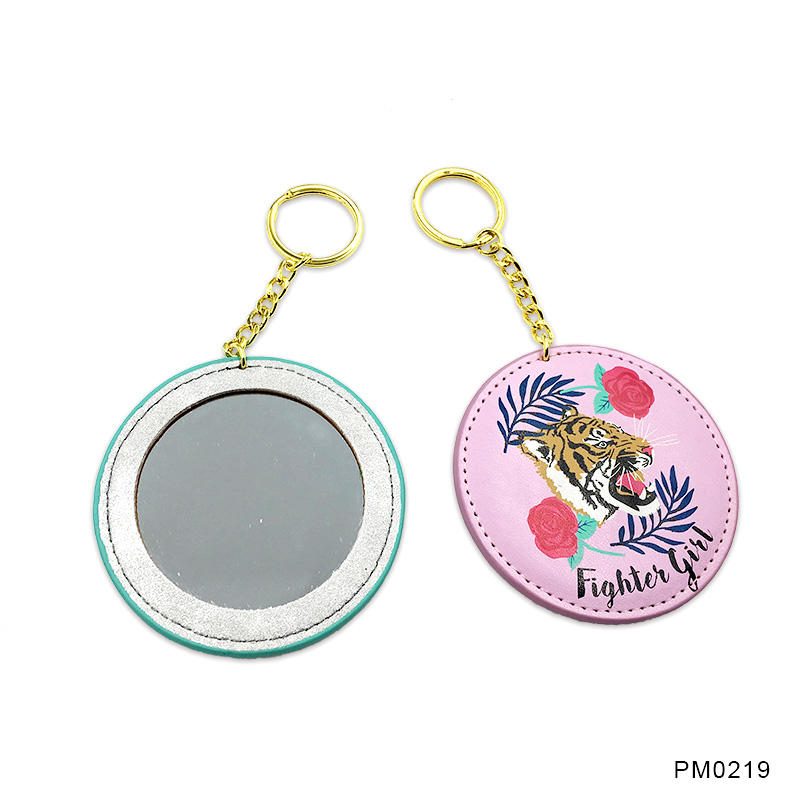 Promotional gift PU mirror keychain for Girl's Birthday