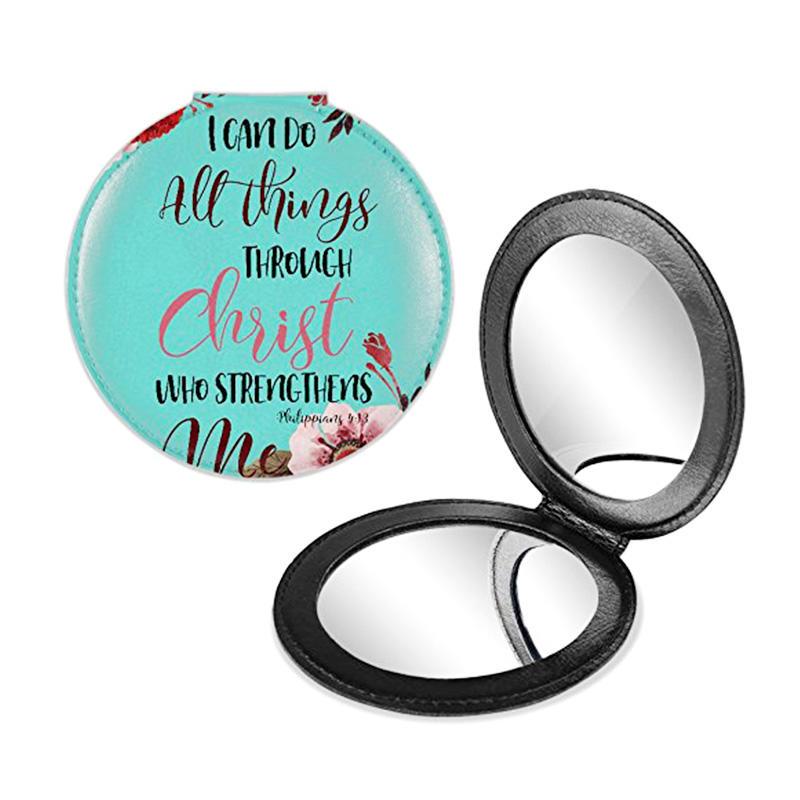 Women's gift PU foldable make up mirror