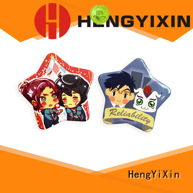 cute pin badges holographic star badge button shaped HengYiXin Brand