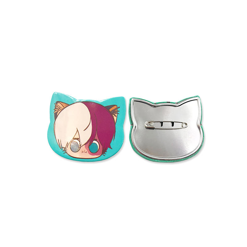 Promotional gift Custom Logo Tin Button Badge Animie Cat Shape pin button
