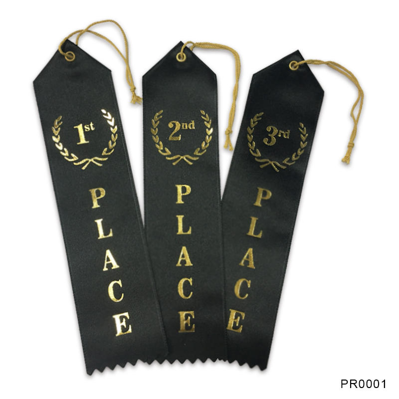 Custom Printing Award Ribbons Black Polyester Satin Ribbon
