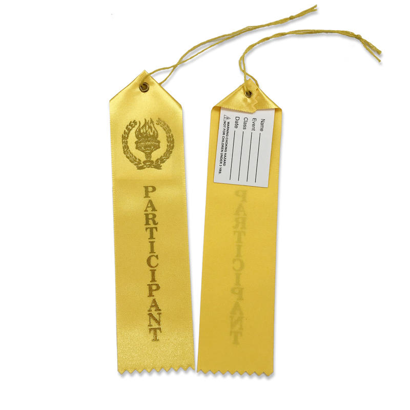 Manufacturer satin ribbon custom logo yellow award ribbon