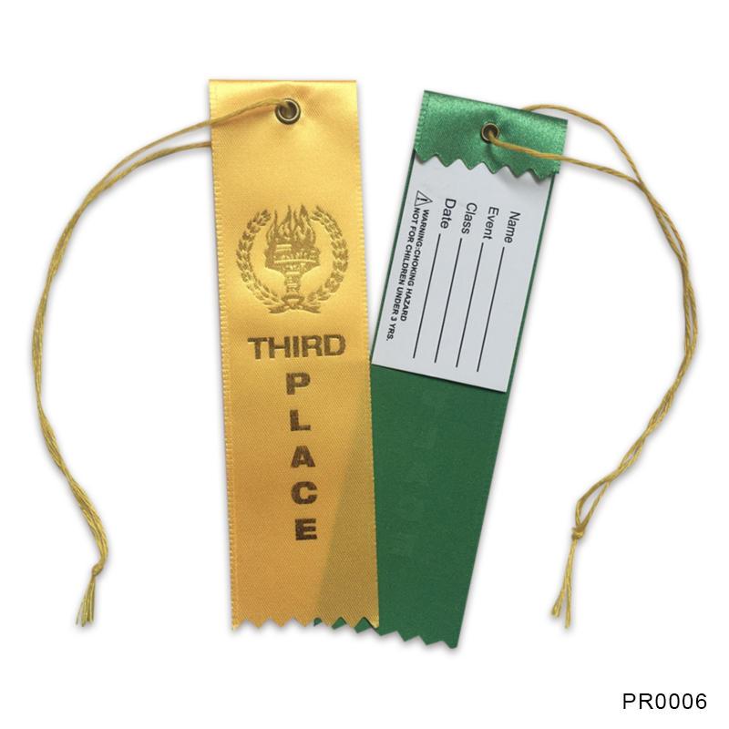 Hot stamping gold custom award ribbons for sport art race
