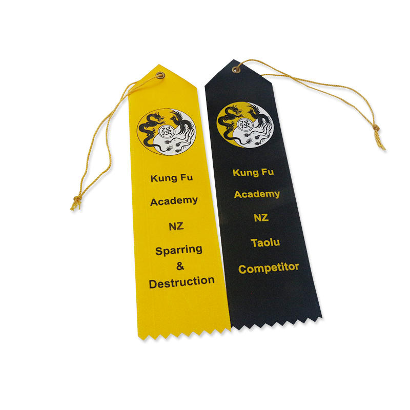 Kung Fu Place Ribbons Promotion Custom Hot Stamping Logo Award Ribbon