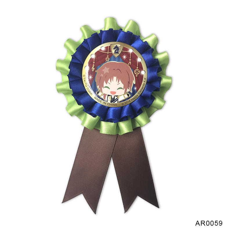 Colorful Polyester round flower rosette ribbon for sport party