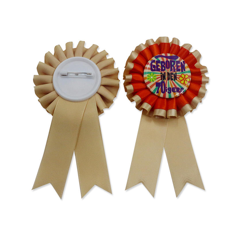Custom Logo printed Decorations Gift Ribbon Badge Award Rosette Ribbon