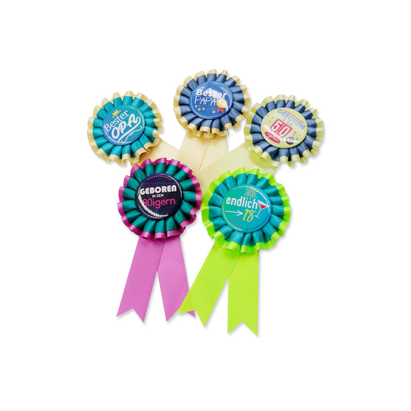 Birthday Gift Rosette Ribbon Custom Polyester Award Ribbon