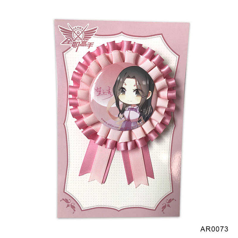 Promotional Gift Flower Award Ribbon Rosette Animie Button Badge for Birthday Party