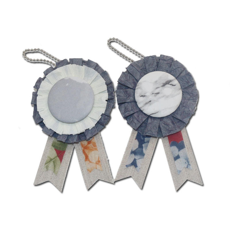 Flower Line Rosette Ribbon Custom Logo Printed Award Ribbons Button Badge