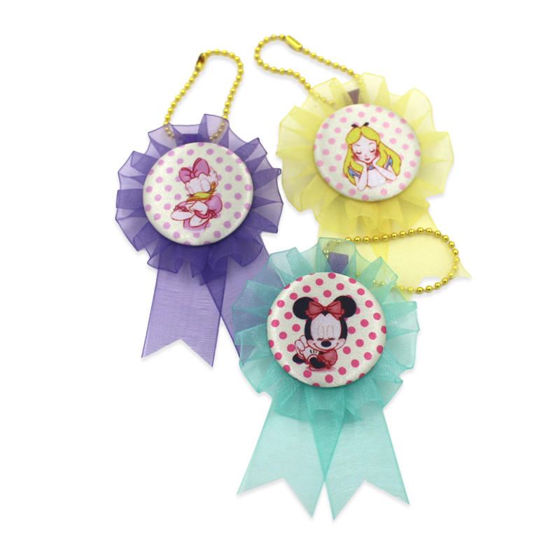 Customized organza rosette badge Cartoon award ribbon rosette for kids
