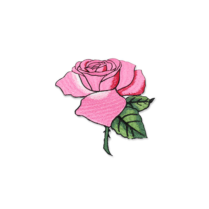 Wholesale Custom 3D Fabric Patch Embroidery Flower Rose Patch For Clothes
