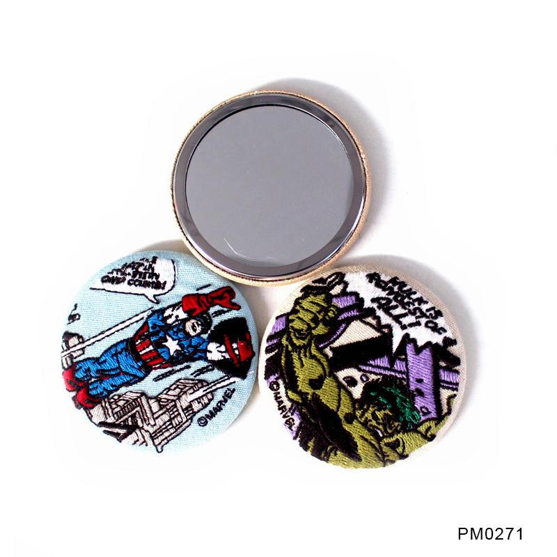 Custom Made Printed Single Side Tin Mirror Fabric Embroidery Badge Mirror