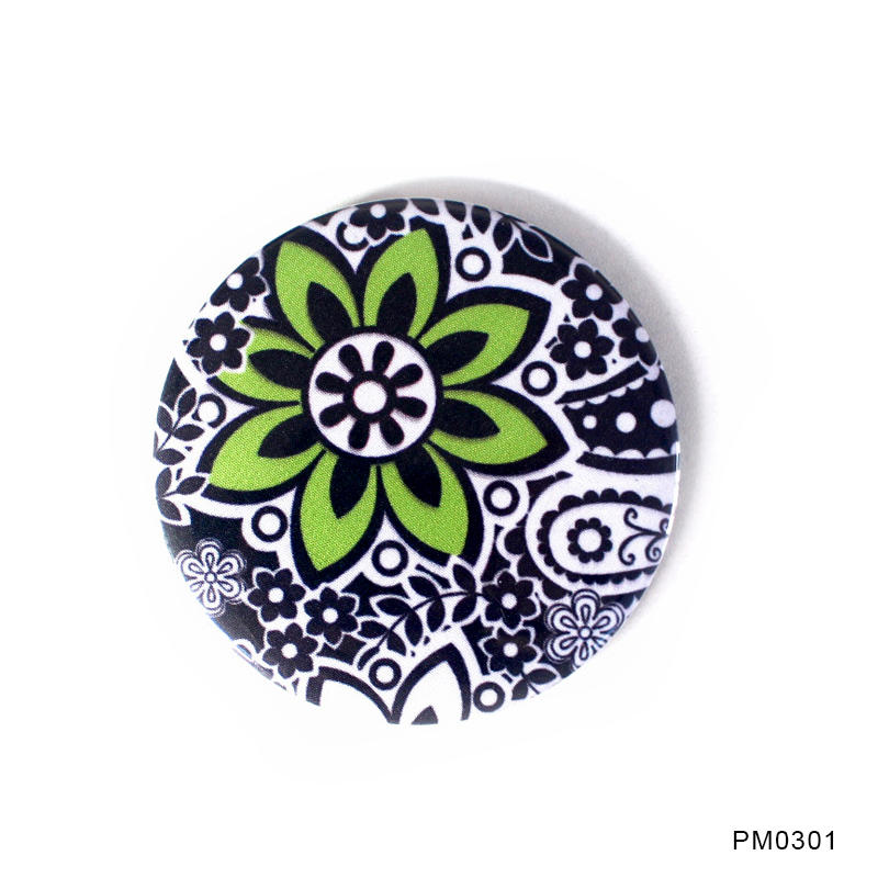 Fabric Handcraft Tin Badge Pocket Mirror Round Cosmetic Mirror