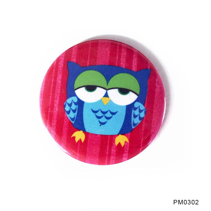 Fabric Handcraft Tin Badge Pocket Mirror Round Cosmetic Mirror