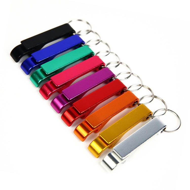 Rainbow Color Aluminum Alloy Metal Custom Logo Souvenir Key Chain Bottle Opener