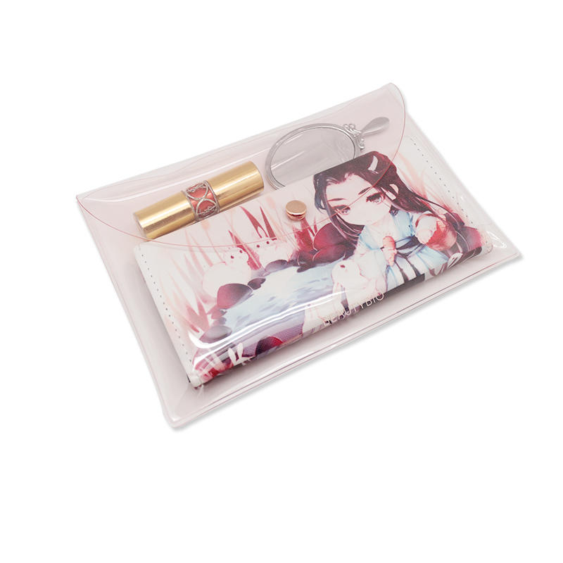 Women Pink PVC Clear Envelope Bag Clutch Handbag